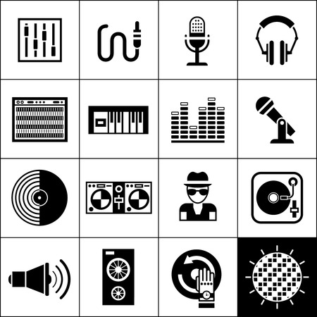 Dj disco music club party icons black set isolated vector illustration Vector