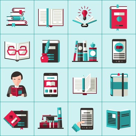 books library: Books reading multimedia library and education icons set isolated vector illustration