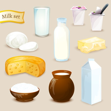 yogur: Alimentos Leche y bebidas iconos decorativos establecen con mantequilla aislado queso de yogur ilustración vectorial