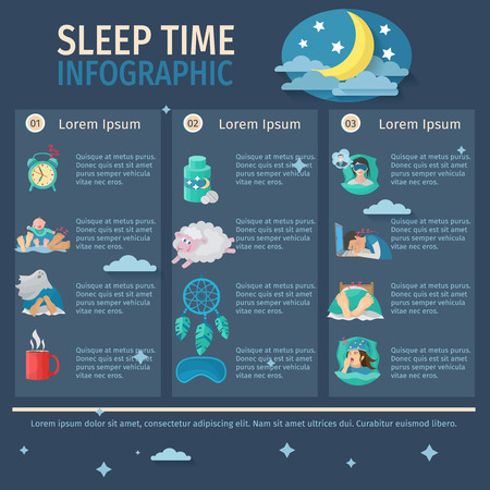 night time: Sleep time infographic set with comfortable night dreaming vector illustration
