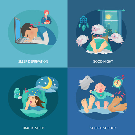 night time: Sleep time design concept set with deprivation and disorder flat icons isolated vector illustration Illustration
