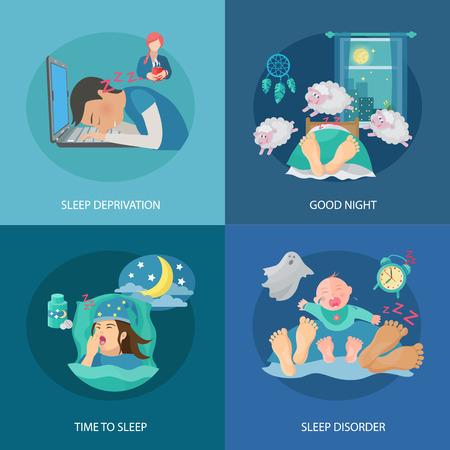 buonanotte: Tempo di sonno concept design set con privazione e disordine piatto icone illustrazione vettoriale isolato