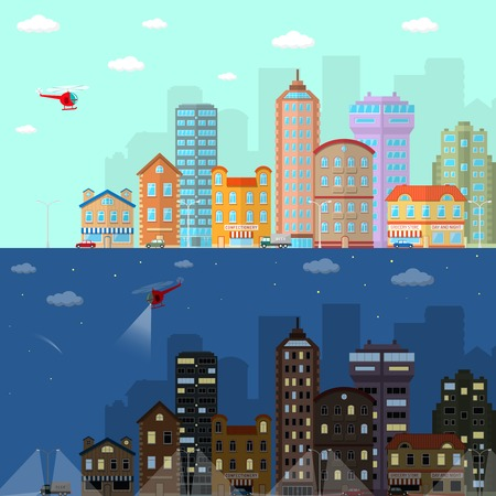 suburb: Day and night city flat horizontal banner set with urban and suburb house buildings isolated vector illustration Illustration