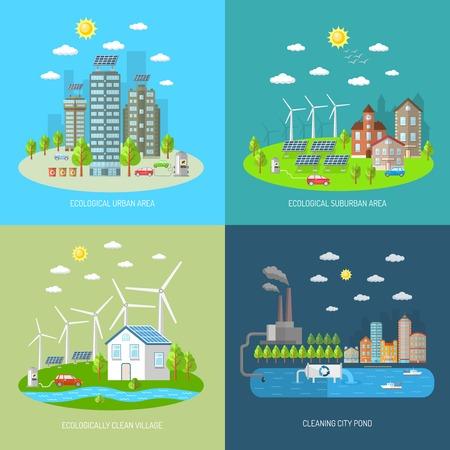 Eco stad ontwerpconcept set met geïsoleerde ecologisch stedelijke voorstedelijk gebied schoon dorp vlakke pictogrammen vector illustratie