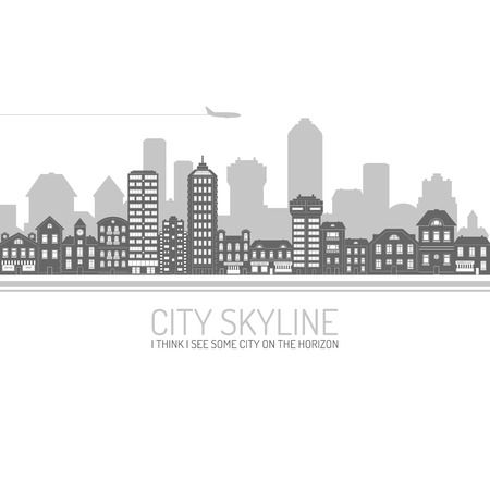 Black modern city view skyline poster with house and commercial buildings vector illustration Illustration