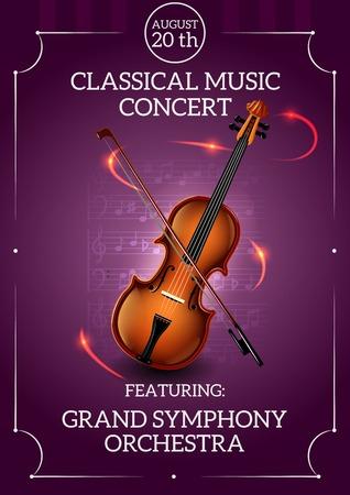 Klassieke muziek concert poster met viool en boog vector illustratie