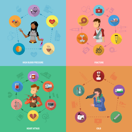 Medicine disease design concept set with high blood pressure fracture heart attack cold flat icons set isolated vector illustration Vector