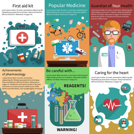 Various medicine pharmacy and healthcare subjects mini poster multicolored set isolated vector illustration Ilustração