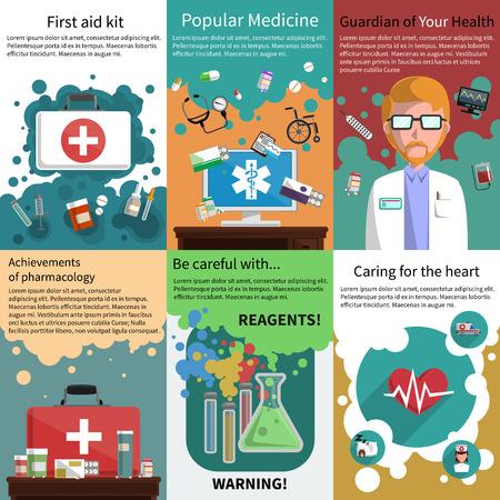 Verschillende medicijnen farmacie en gezondheidszorg onderwerpen mini poster veelkleurige set geïsoleerd vector illustratie