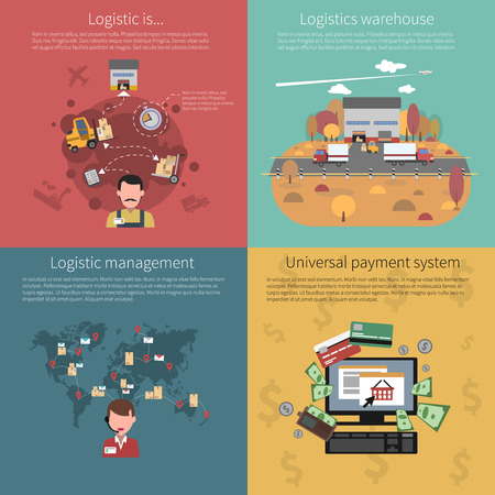 shipping supplies: Design concept set for logistic warehouse management and universal payment system isolated vector illustration Illustration