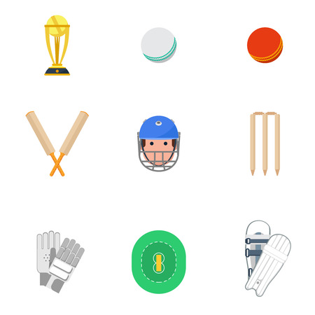 cricket: Cricket sport game icons set with protective leg guard and helmet and trophy abstract isolated vector illustration