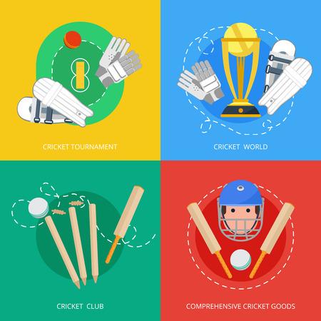 murcielago: Juego de cricket Equipo al aire libre de cuatro plana composici�n iconos con el bate trofeo y guantes abstracto ilustraci�n vectorial aislado