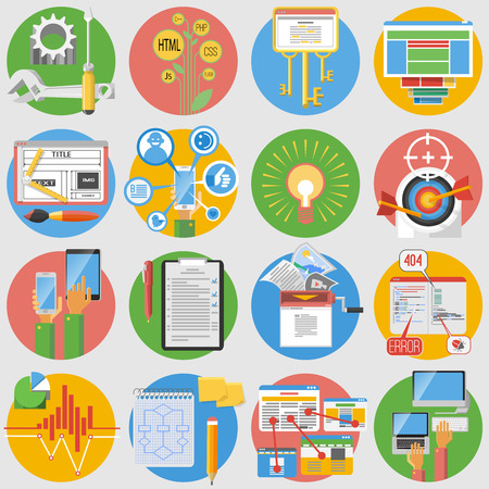 search results: Seo search results optimization service and website content editing flat round  pictograms collection abstract isolated vector illustration Illustration
