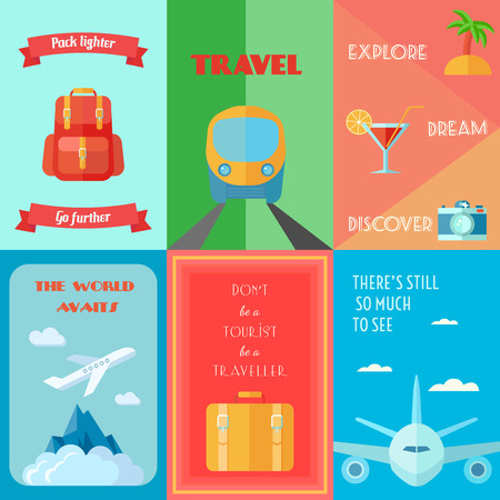 poster bed: Travel tourism and vacation mini poster set isolated vector illustration