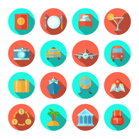 travel icon: Travel icon flat set with tourist and summer vacation symbols isolated vector illustration Illustration