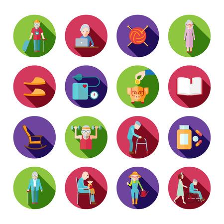 Iconos de estilo de vida de alto nivel establecidos con personas mayores símbolos aislados ilustración vectorial Vectores