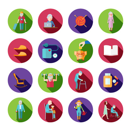 element old: Senior lifestyle icons set with old people symbols isolated vector illustration