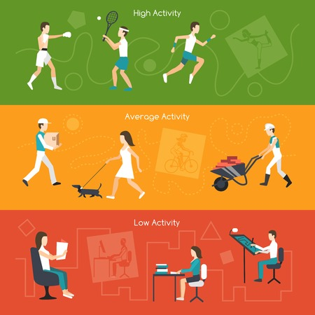 sedentario: Actividad física banners horizontales establecen con promedio alto y elementos de baja aislado ilustración vectorial
