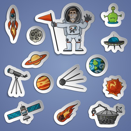 Space and science paper stickers set with spaceship telescope satellite isolated vector illustration Vector
