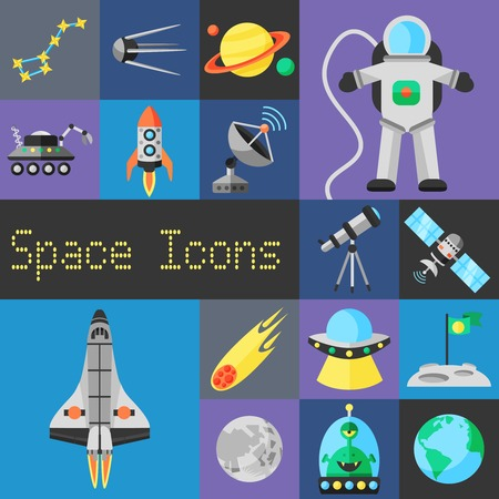Space decorative icons flat set with planets ufo and astronaut isolated vector illustration Vettoriali