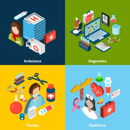 first aid kit: Medical design concept set with ambulance diagnostics therapy healthcare isometric icons isolated vector illustration