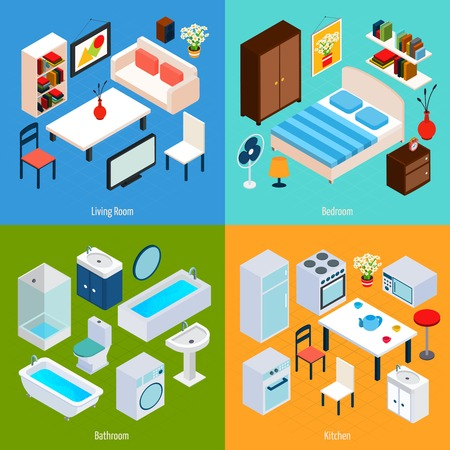 bedroom interior: Isometric interior design concept set with living room bedroom bathroom and kitchen 3d icons isolated vector illustration