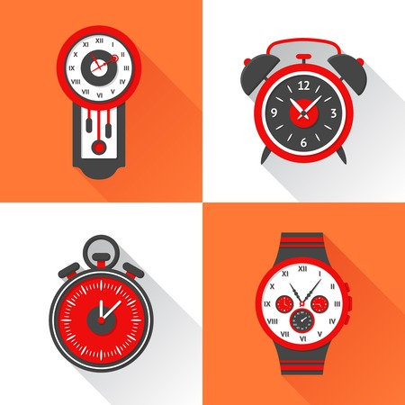 wristlet: Clock flat icons set with cuckoo alarm clock stopwatch and wristlet watch isolated vector illustration Illustration