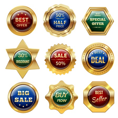 Golden sale best offer special discount retail business labels set isolated vector illustration Vector