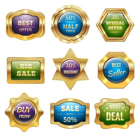 Golden sale product discount advertising and promotion badges isolated vector illustration Ilustracja