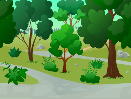 Game park landscape with 2d trees alleys flat background vector illustration Vector