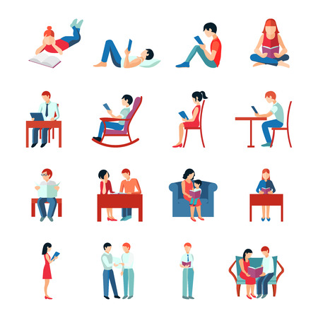 woman reading book: Reading people flat character set with books magazines newspapers isolated vector illustration