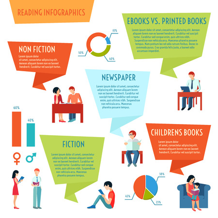 reading books: People reading books magazines and newspaper infographics set with charts vector illustration