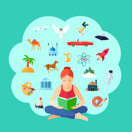 fantasy book: Reading concept with young girl sitting and imagination symbols set vector illustration Illustration