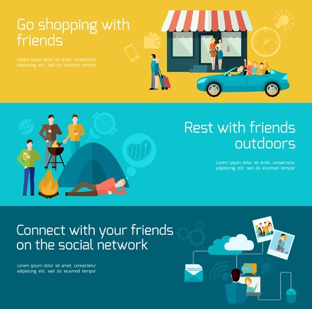humankind: Friends relationships horizontal banner set with shopping outdoor rest and social network elements isolated vector illustration