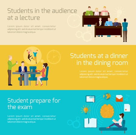 exam: Students horizontal banner set with lecture audience dining and exam elements isolated vector illustration