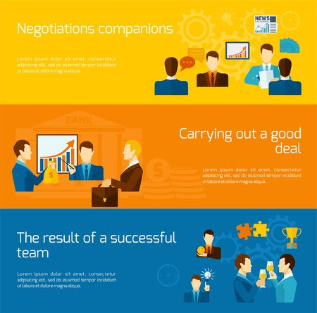 negotiations: Partnership horizontal banners set with negotiations deal successful team elements isolated vector illustration Illustration