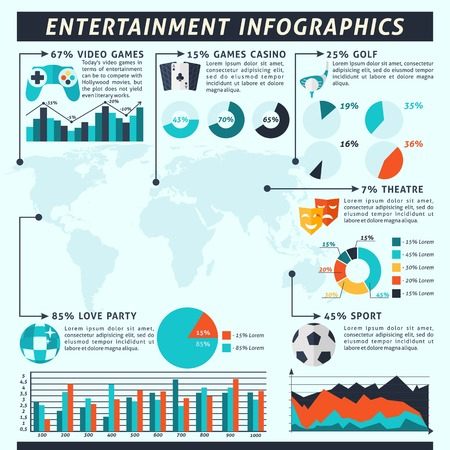 Entertainment infographics set with sport gambling alcohol symbols and charts vector illustration Vector