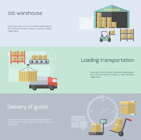 supply chain: Warehouse horizontal banner set with transportation delivery and logistic elements flat isolated vector illustration Illustration