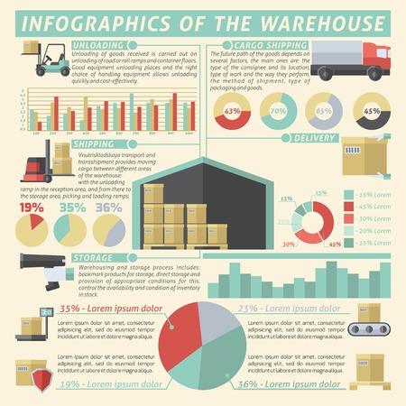 Warehouse infographic set with logistics and transportation symbols and charts vector illustration Illustration