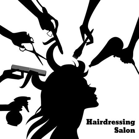 Concepto del salón de belleza con perfil femenino de la silueta y las manos del peluquero con la ilustración de vector de los accesorios