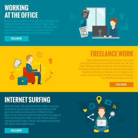 internet surfing: People with computers horizontal banner set freelance and office working internet surfing elements isolated vector illustration