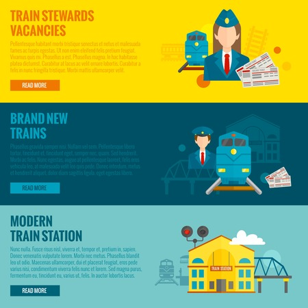 vacancies: Railway horizontal banner set with train steward vacancies new modern station elements isolated vector illustration