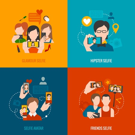 glamour: Selfie design concept set with glamour hipster friend avatar flat icons isolated vector illustration