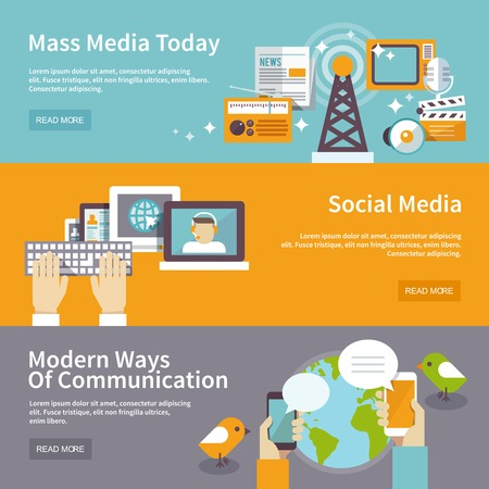 communication tools: Social mass media banner horizontal set communication elements isolated vector illustration