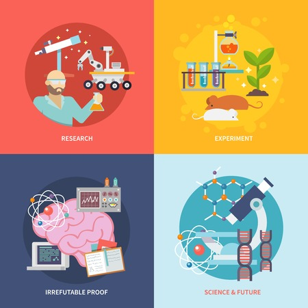 science: Science and research design concept set with experiment irrefutable proof future flat icons isolated vector illustration