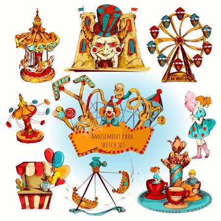 theme parks: Amusement kids entertainment park decorative icons colored set isolated vector illustration