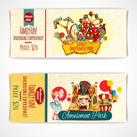fun festival: Amusement fun festival park tickets hand drawn set isolated vector illustration
