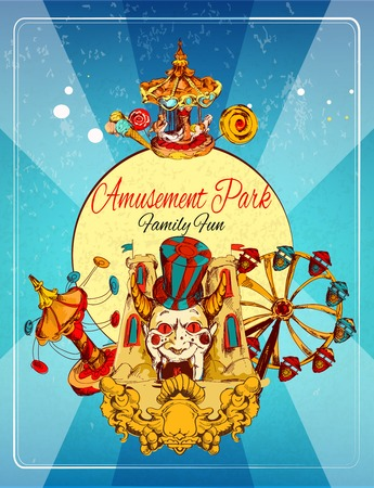 Amusement park family fun hand drawn poster with thrill attraction and rollercoasters vector illustration