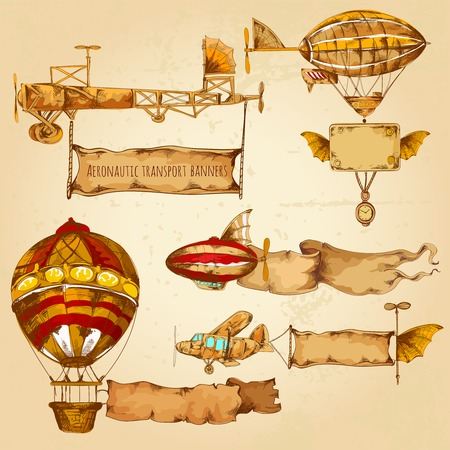 Old style airships with advertising banners hand drawn set isolated vector illustration