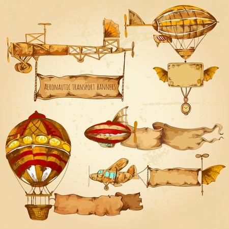 globo: Dirigibles del viejo estilo con dibujado banners publicitarios mano conjunto aislado ilustraci�n vectorial